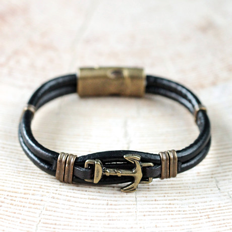 Leather Nautical Bracelet // Black + Antique Yellow
