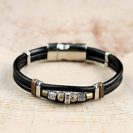 Real Leather + Silver + Antique Wrapping Zircon Stone Bracelet