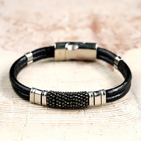 Real Leather + Silver + Antique Yellow Covering Bracelet