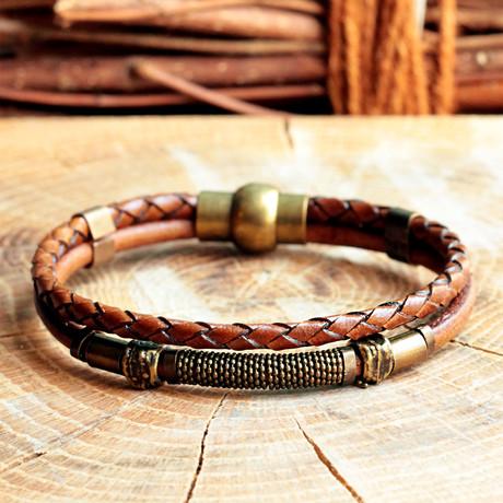Handmade Leather + Antique Yellow Coating Bracelet // Leather Braid