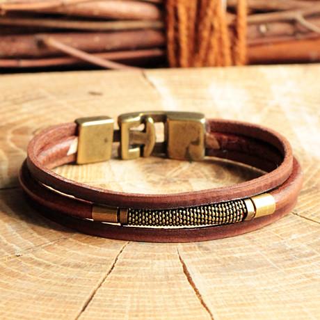 Three Strap Leather Bracelet + Antique Hook Clasp // Antique Yellow (Antique Yellow)