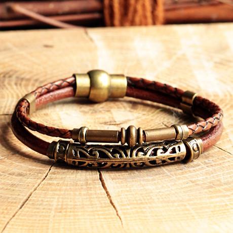 Handmade Leather + Antique Yellow Coating Bracelet // Engraved Design