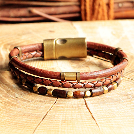 Handmade Leather Magnetic Clasp Bracelet // Three Straps