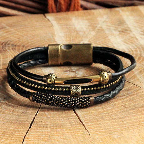 Antique Yellow Coating Bracelet // Black