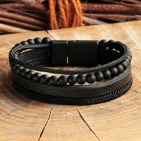 Four Strap Leather Bracelet // Matte Black (Matte Black)