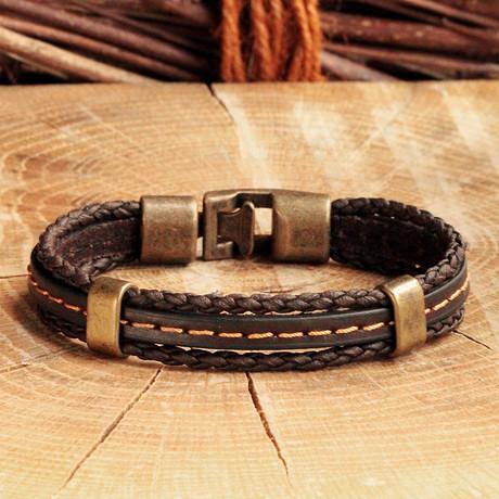 Antique Yellow Coating Hook Clasp Bracelet // Braided