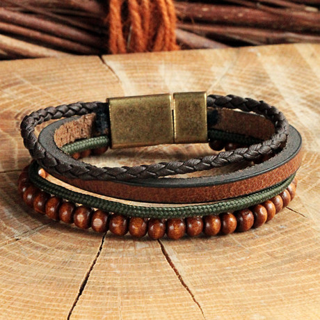 Four Strap Leather Bracelet + Braided // Brown