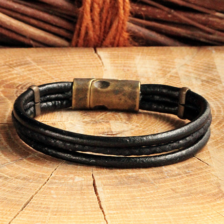 Three Strap Leather Bracelet // Antique Yellow