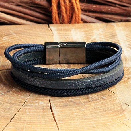 Anthracite Coating Hook Clasp Bracelet // Four Strap