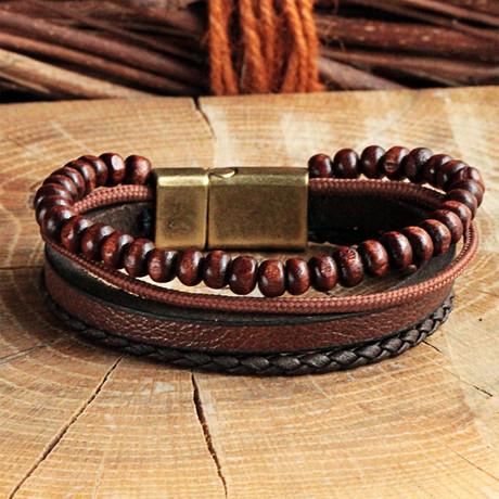 Four Strap Leather Bracelet // Antique Brown (Antique Brown)