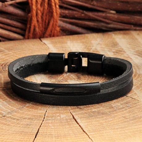 Two Strap Leather Bracelet // Matte Black (Matte Black)