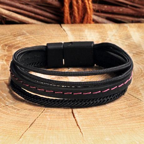 Leather Bracelet // Matte Black + Pink (Matte Black, Pink)