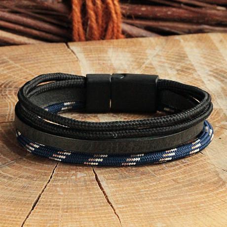 Matte Black Coating Bracelet // Four Strap