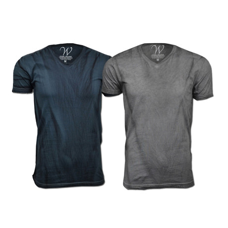 Ultra Soft Hand Dyed V-Neck // Charcoal + Gray // Pack of 2 (S)