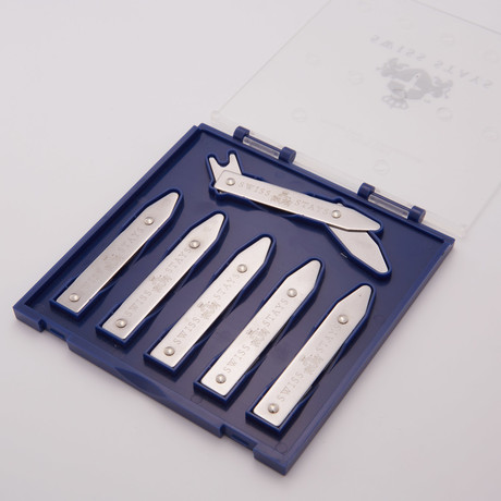 Stainless Steel Adjustable Collar Stays + Clear Case