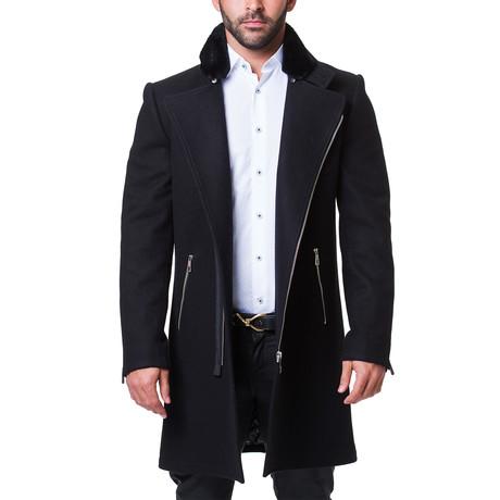 Fur Zip Peacoat // Black (US: 38R)