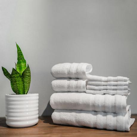 8 Piece Towel Set // Bamboo (White)