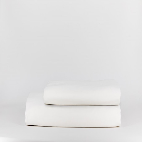 Percale Top Sheet & Duvet Cover Set // Pure White (Full)