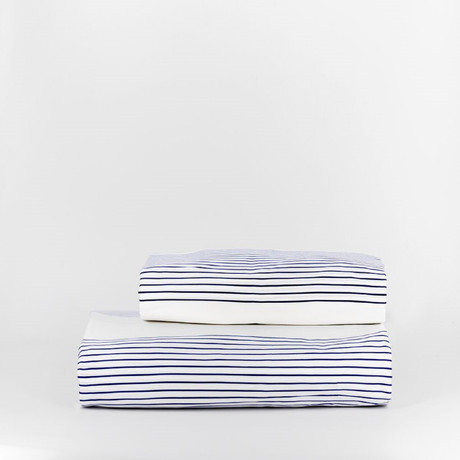 Percale Top Sheet & Duvet Cover Set // Beach Stripe (Full)