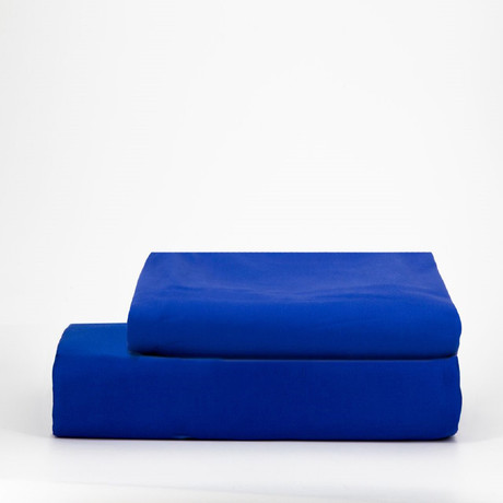 Percale Top Sheet & Duvet Cover Set // Sapphire Blue (Full)