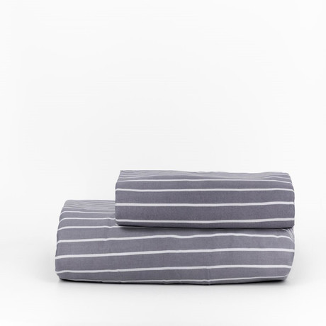 Percale Top Sheet & Duvet Cover Set // Striped Cinder (Full)