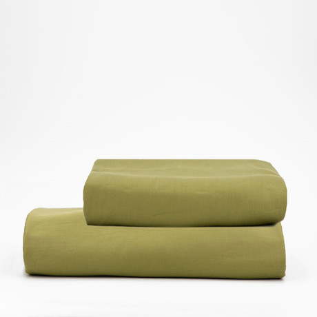 Percale Top Sheet & Duvet Cover Set // Olive Green (Full)