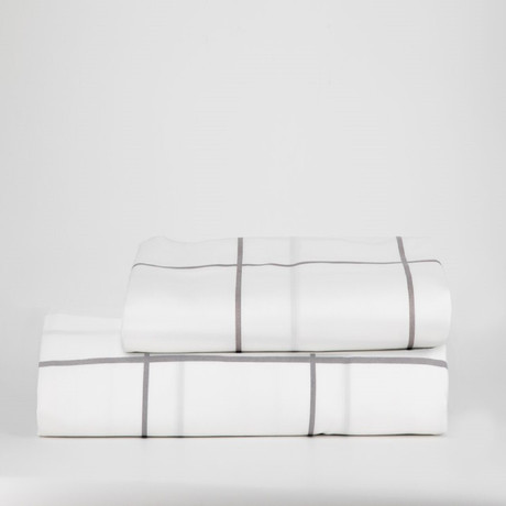 Percale Top Sheet & Duvet Cover Set // White Tile (Full)