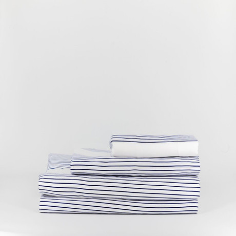 Percale Complete Bedding Set // Beach Stripe (Full)