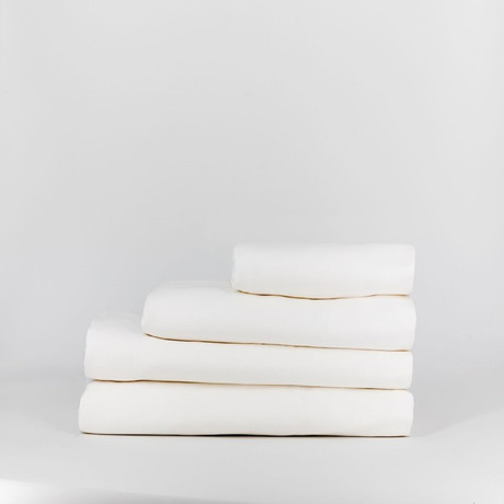 Percale Complete Bedding Set // Pure White (Full)
