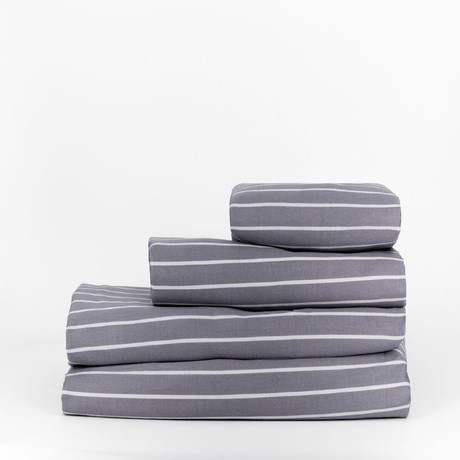 Percale Complete Bedding Set // Striped Cinder (Full)