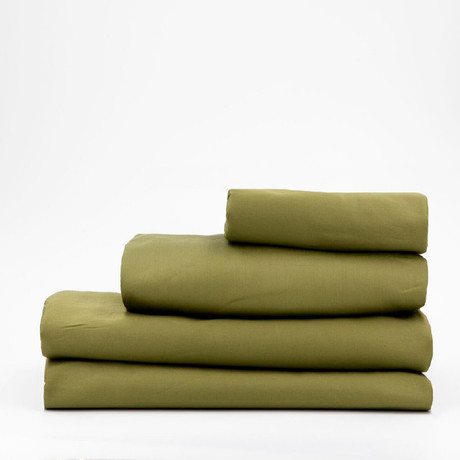 Percale Complete Bedding Set // Olive Green (Full)