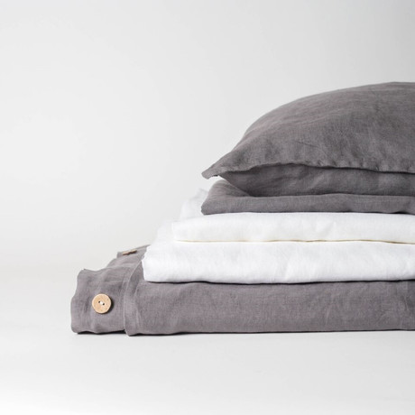 Linen Complete Bedding Set // Charcoal Gray (Full)