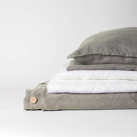 Linen Complete Bedding Set // Smoke Gray (Full)