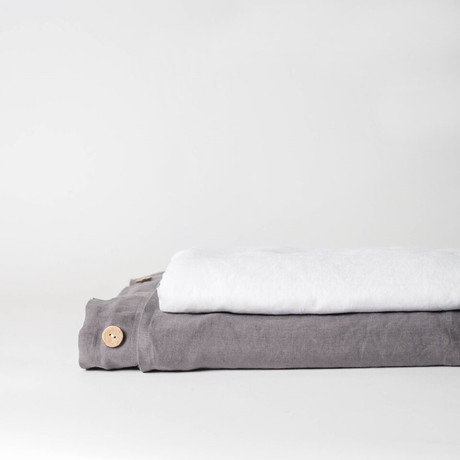 Linen Top Sheet & Duvet Cover Set // Charcoal Gray (Full)