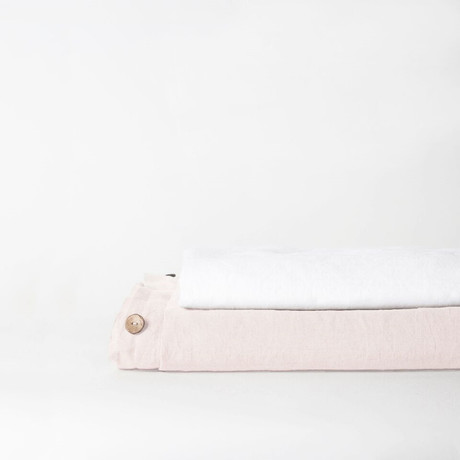 Linen Top Sheet & Duvet Cover Set // Cream (Full)