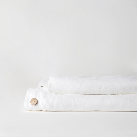 Linen Top Sheet & Duvet Cover Set // Pure White (Full)