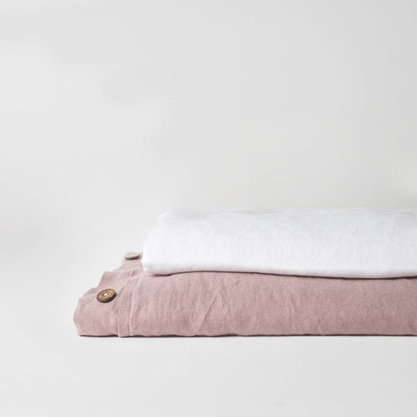 Linen Top Sheet & Duvet Cover Set // Rosewood (Full)