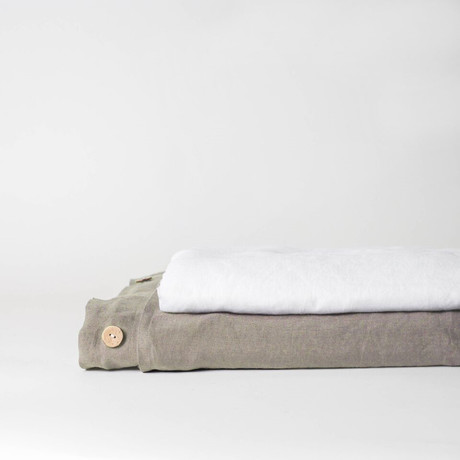 Linen Top Sheet & Duvet Cover Set // Smoke Gray (Full)