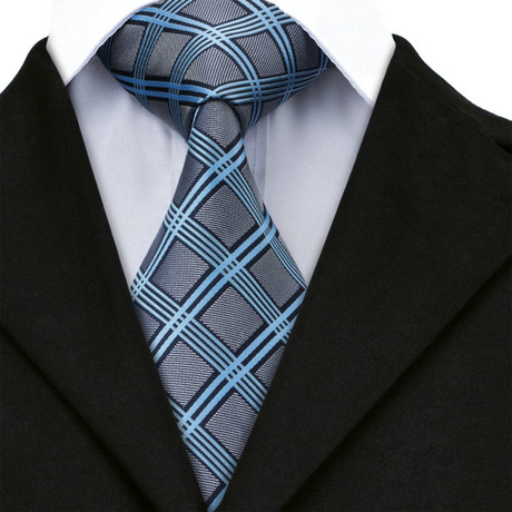 Giraud Handmade Tie // Black + Light Blue + Silver