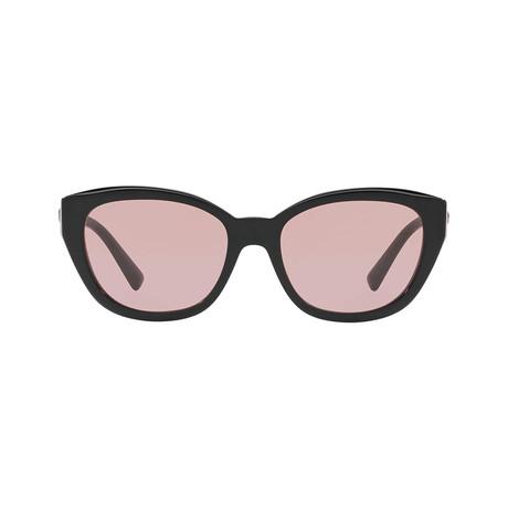 Versace // Cat Eye Plastic Sunglasses // Black + Light Violet