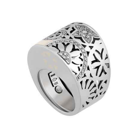 Nouvelle Bague India Preziosa 18k White Gold Diamond + White Enamel Ring // Ring Size: 7.25