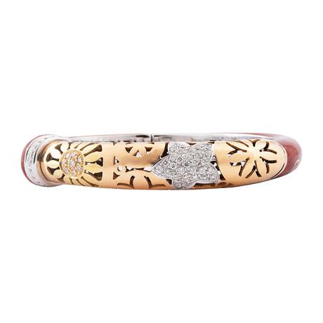 Nouvelle Bague India Preziosa 18k Two-Tone Gold Diamond + Red Enamel Bangle Bracelet
