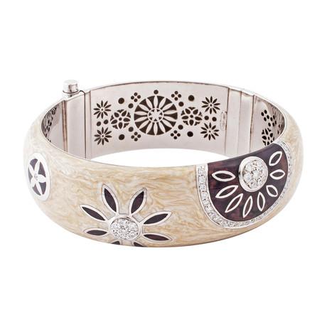 Nouvelle Bague India Preziosa 18k White Gold Diamond + Enamel Bangle Bracelet