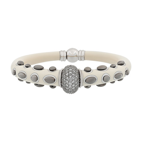 Nouvelle Bague Kenya 18k White Gold Diamond + White Enamel Bangle Bracelet