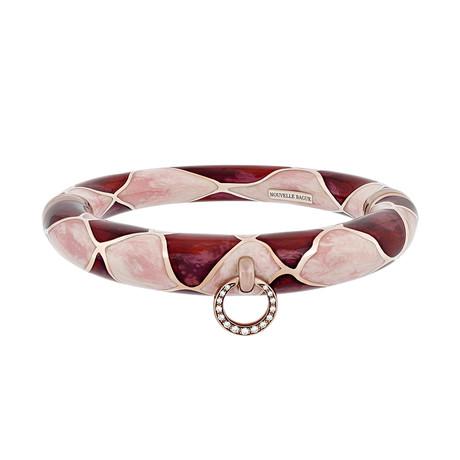 Nouvelle Bague Kenya 18k Rose Gold Diamond + Enamel Bangle Bracelet