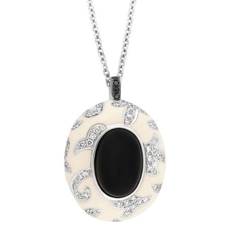 Nouvelle Bague 18k White Gold Diamond + Onyx Necklace