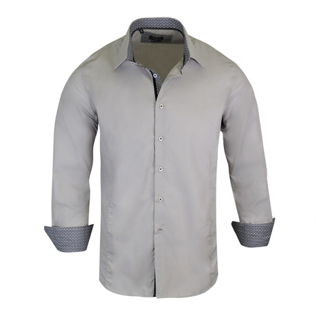 Ian True Modern-Fit Long-Sleeve Dress Shirt // Grey (S)