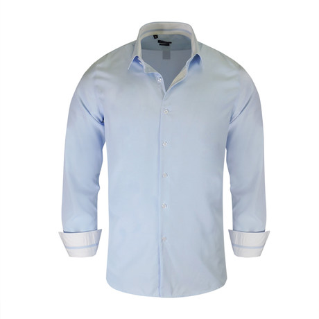 Keith True Modern-Fit Long-Sleeve Dress Shirt // Blue (M)