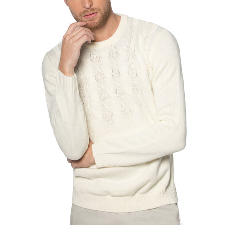 Camp Lo Cable Knit Sweater // White (S)
