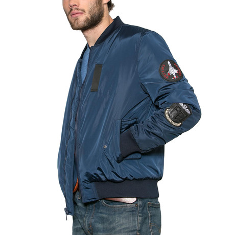 Lost Boys Patched Bomber Jacket // Navy (S)